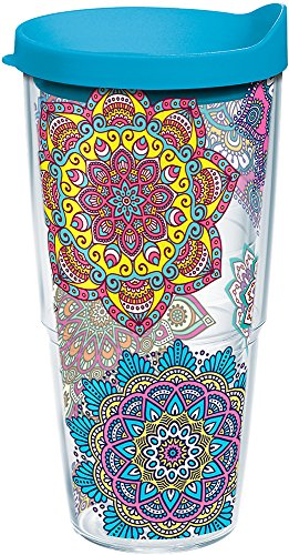 Tervis 1223132 Colorful Mandalas Tumbler with Wrap and Turquoise Lid 24oz, Clear by Tervis