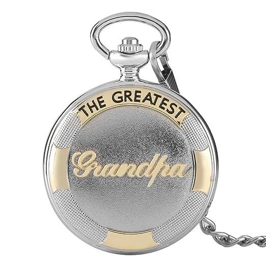Reloj de Bolsillo, Reloj de Bolsillo clásico The Greatest Grandpa Sliver de Cuarzo, Reloj de Bolsillo, Regalos para Hombres - Opqjkseuy Reloj de Bolsillo ...