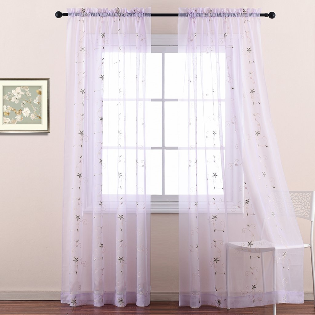 Nicetown Spring Blooms Voile Curtains - Floral Embroidered Sheer Window Curtains / Drapes Lila