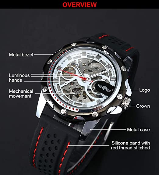 Amazon.com: AMPM24 Mens Skeleton Automatic Mechanical Black Silicone Band Sport Wrist Watch PMW082: Watches