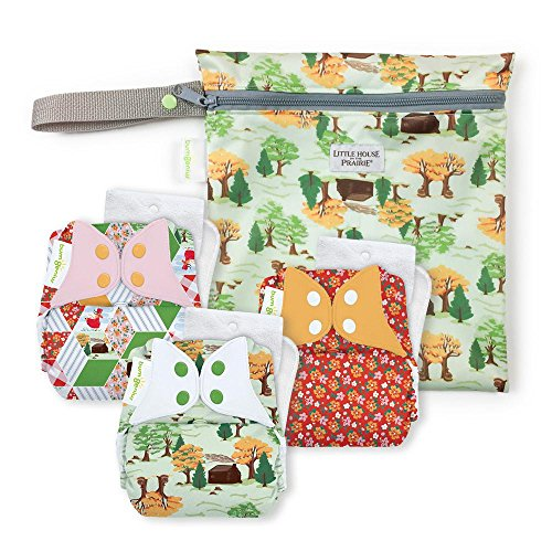 bumGenius Original One-Size Pocket-Style Cloth Diaper 5.0 - Little House in The Big Woods Collection - Keepsake Set: 3 Cloth Diapers and 1 Wet Bag