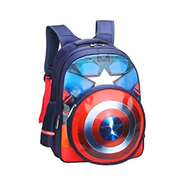 bfcb481b48 YOURNELO Kid s Cute Fashion New Marvel Superhero Backpack School Bag  Bookbag Rucksack (A Captain America