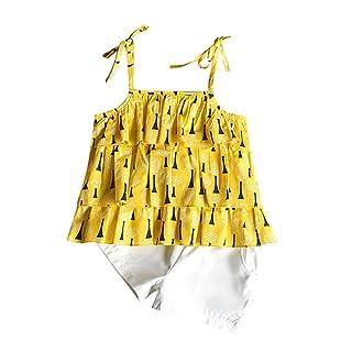 Baby Bodysuit Girl Newborn,Toddler Kids Baby Girls Outfits Clothes Print Vest T-shirt Tops+Shorts Pants Set,Baby Girls' Hoodies & Activewear,Yellow,130 Baby Girls' Hoodies & Activewear AMSKY Pants Set 110