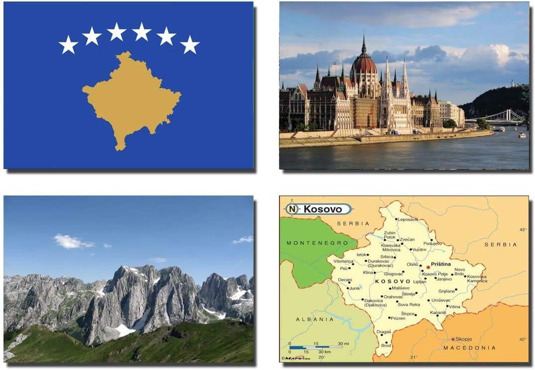 SET OF 4 KOSOVO REFRIGERATOR MAGNETS FRIDGE MAGNETS – KOSOVO FLAG KOSOVO MAP KOSOVO ATTRACTIONS