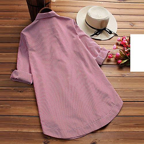 Sweat Chemise Femme Chic Lache Blouse en en Longue Treillis Shirt Chic V Manche Tunique Chemisier Femme Rouge Top Taille Col Sexy Boutons Chemise Grande ORnp8R