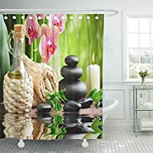 Emvency Shower Curtain With Hook Polyester Fabric Green Spa Zen Basalt Stones and Bamboo on the Wood Towel Asian Bottle Orchid Aroma Waterproof Adjustable Hook Sets 72 x 78 For Bathroom