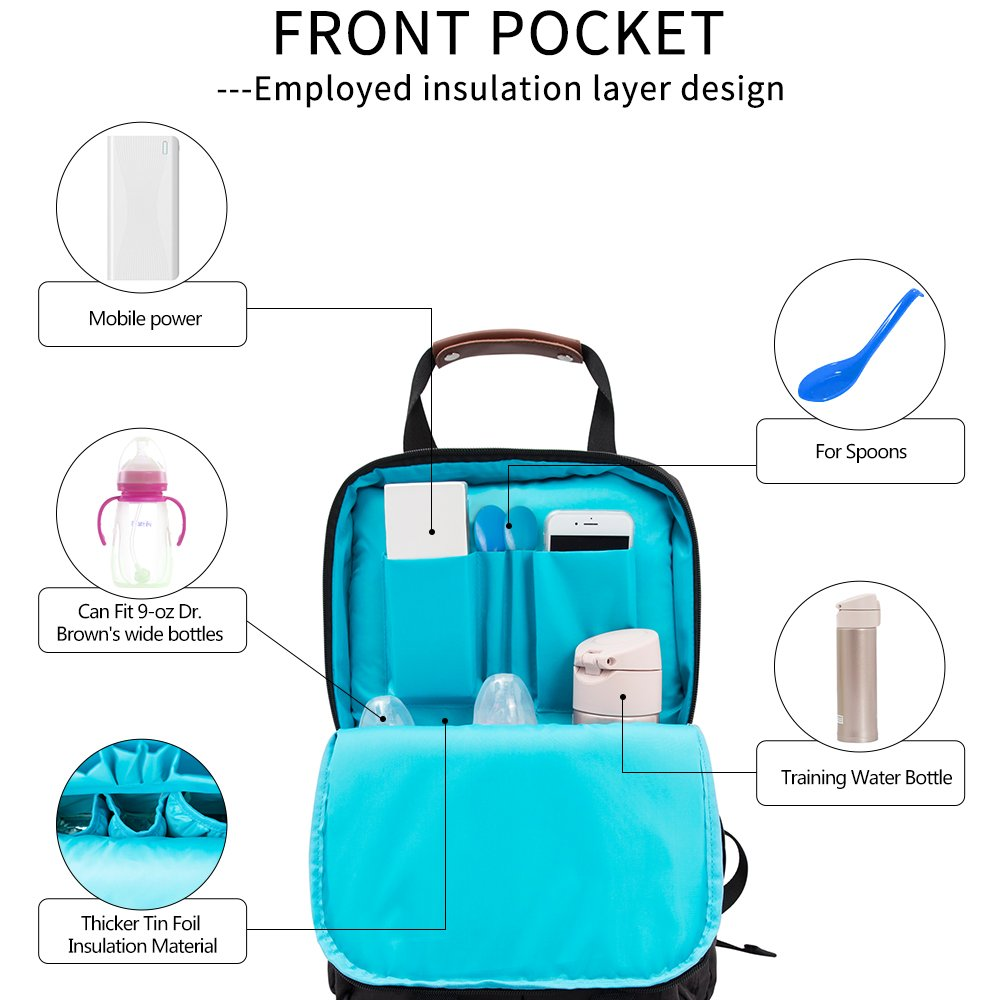 LUKATU Diaper Bag Backpack, Organizer Multi-Function Waterproof Anti-theft Travel Bags for Mom / Dad with Stroller Straps, Changing Pad & Insulated Pockets for Baby Durable and Stylish