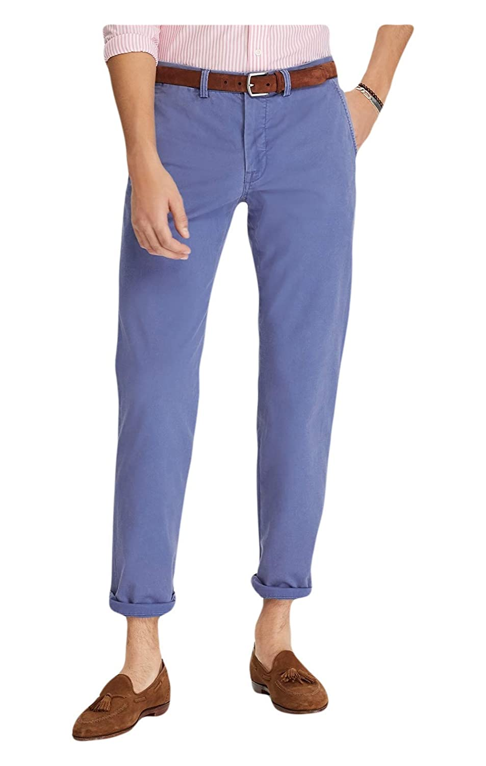27fd264d29 RALPH LAUREN Polo Men's Stretch Straight Fit Flat Front Chino Pants (Haven  Blue, 34x34)