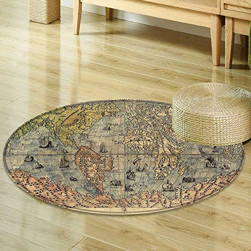Small round rug Carpet Antique Decor Collection Ancient Map of World Global History Stained Paper Oceans Lands Atlas Educational Art Ivory Blue Green door mat indoors Bathroom Mats Non Slip ()