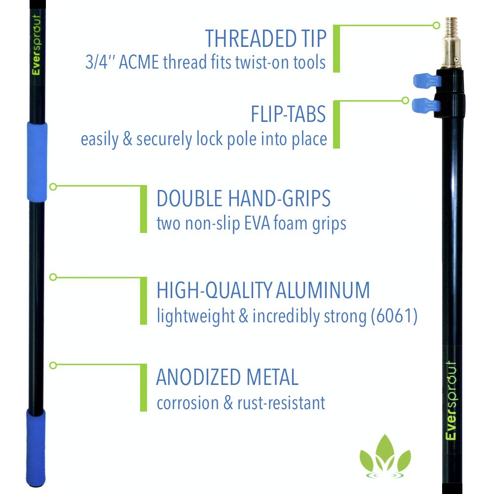 EVERSPROUT 5-to-12 Foot Scrub Brush (20 Foot Reach) | Built-in Rubber Bumper | Lightweight Extension Pole Handle | Soft Bristles to Wash Car, RV, Boat, Deck, Floor | Bumper Prevents Scratch by EVERSPROUT (Image #8)