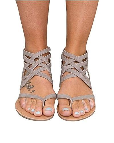 Huiyuzhi Womens Flip Flop Gladiator Flat Sandal Fisherman Sandal
