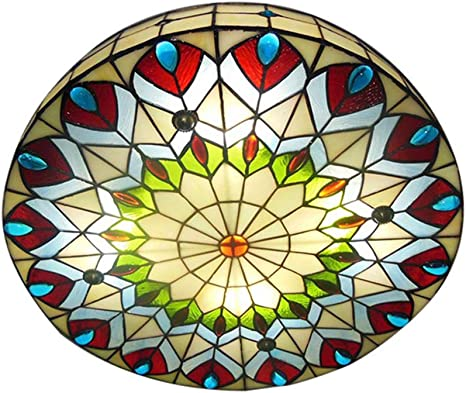 Baycheer Tiffany Round Shade Peacock Stained Glass Ceiling Lamp 3 Lights Vintage Flush Mount Ceiling Light With Stained Glass Shade 16 Creative Hanging Lights For Hall Kitchen Island Entry Amazon Com