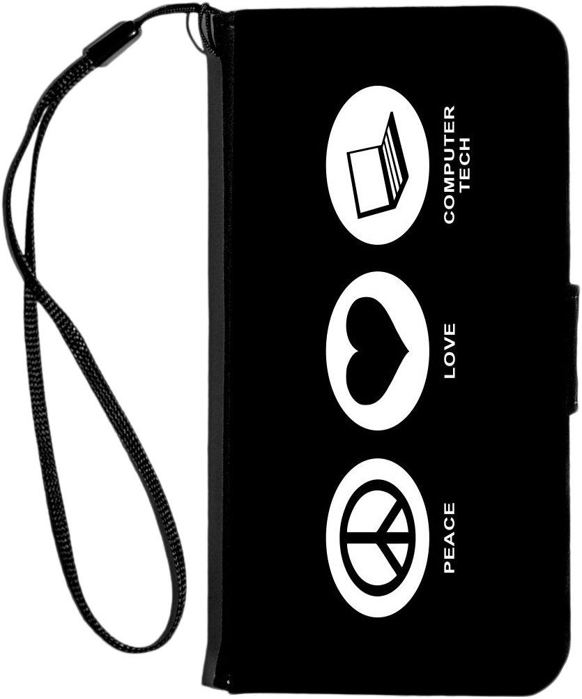 Rikki Knight Peace Love Computer Tech Color Design iPhone 6 & 6s PU Wallet Flip Case - Black