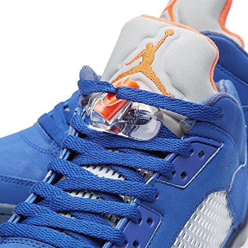 Nike Air Jordan 5 Retro Low, Zapatillas de Baloncesto para Hombre Azul / Naranja / Blanco (Dp Ryl Bl / Tm Orng-Mid Nvy-Atmc)