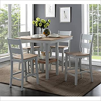 Bernards Furniture York 5 Piece Counter Height Dining Set In Distressed Wire Brush