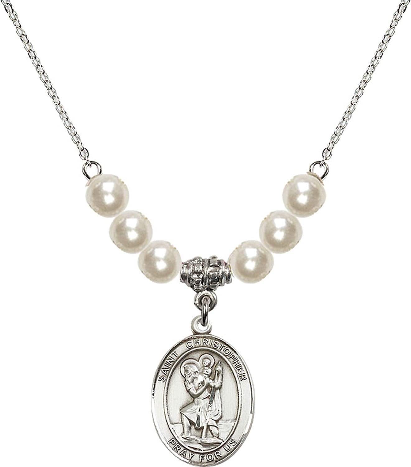 Bonyak Jewelry 18 Inch Rhodium Plated Necklace w// 6mm Faux-Pearl Beads and Saint Christopher Charm
