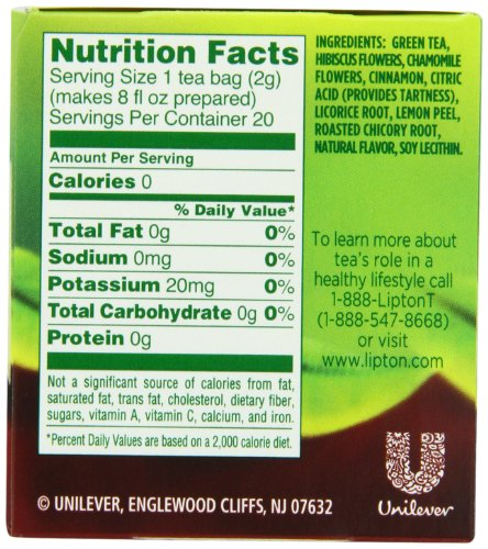 Lipton Green Tea Bags, Cranberry Pomegranate 20 Ct, Pack