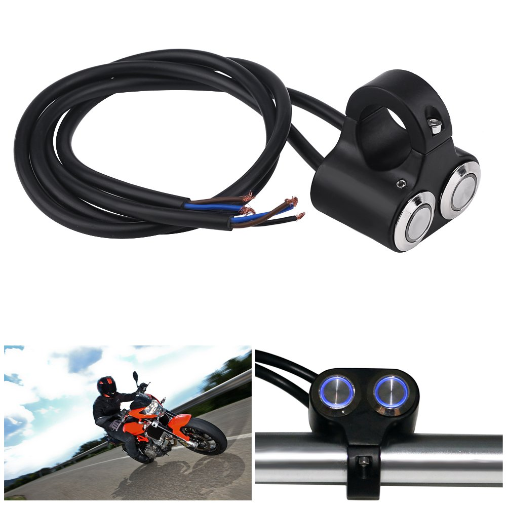 Acouto 7/8 Inch 22 mm Universal Motorcycle Handlebar Switch Headlight Brake Light Switch With LED Indicator(Self-locking1-Blue light) by Acouto