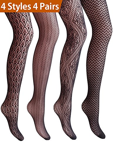 VERO MONTE 4 Pairs Hollow Out Pantyhose Patterned Tights 4 Women Tights (BLACK)