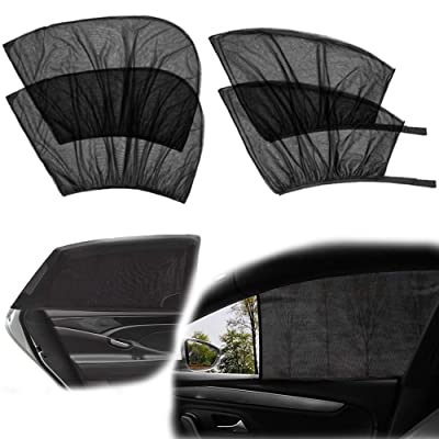 4 Pack Car Side Window Sun Shade, Car Sun Shade Blocking Car Mosquito Net for Baby - Car Side Rear Sun Shade with UV Rays Protection, Fit Most of Vehicle - 2 Pack for Front Window and 2 Pack for Back: Baby