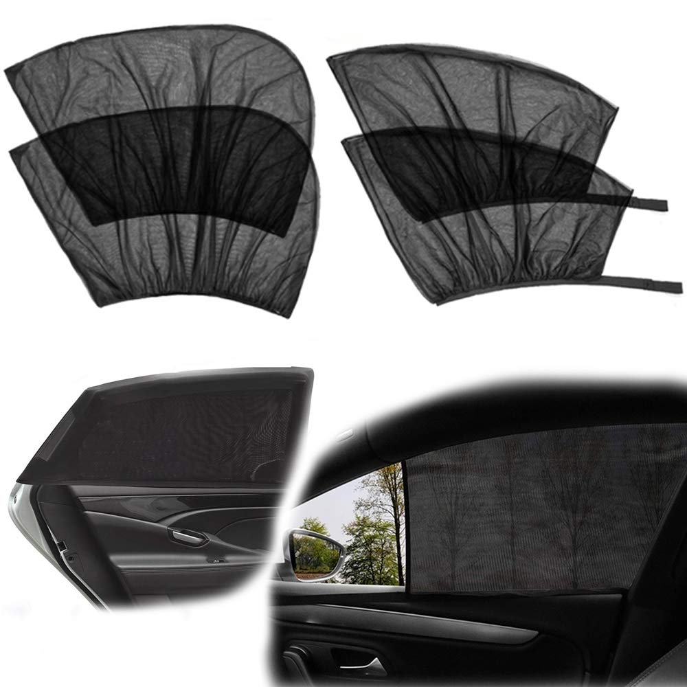 BOYISEN Car Side Window Sun Shade Front and Back Trucks and SUVs 4 Pack Breathable Mesh Sun Shield with UV Rays Protection Mosquito Prevention Fit for Cars