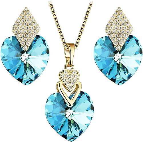Fashion Women Rose Flower Butterfly Heart Pendant Necklace Earrings Jewelry Set