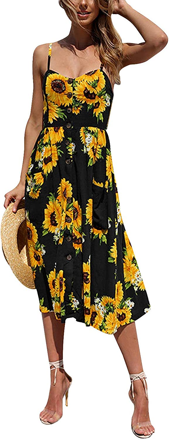 Size Womens Holiday Strappy Floral Pocket Ladies Beach Midi Swing Sun Dress 8-26
