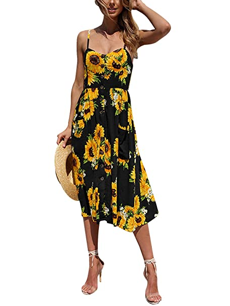3358500eaf8a5 SWQZVT Women's Dress Summer Spaghetti Strap Sundress Casual Floral Midi  Backless Button Up Swing Dresses with Pockets S-3XL
