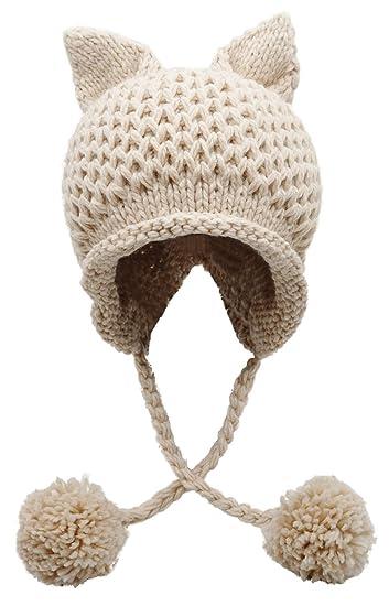88793cfc72c Bellady Winter Cute Cat Ears Knit Hat Ear Flap Crochet Beanie Hat ...