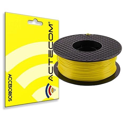 ACTECOM FILAMENTO PLA Impresora 3D Bobina Rollo 1,75MM 1KG Colores Varios (Amarillo)