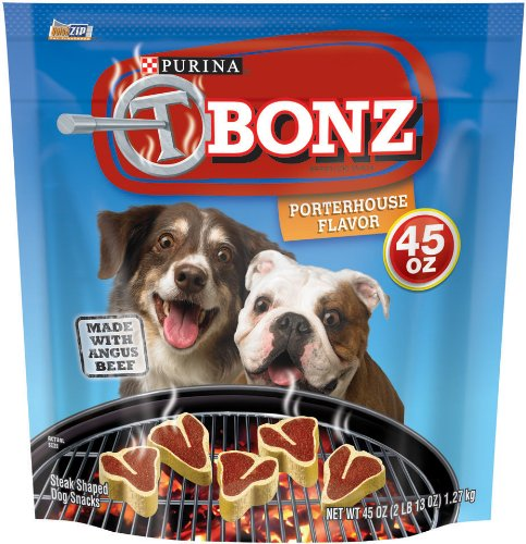 (T-Bonz Porterhouse Flavor Dog Snacks 45-Ounce Pouch, Pack Of 1)