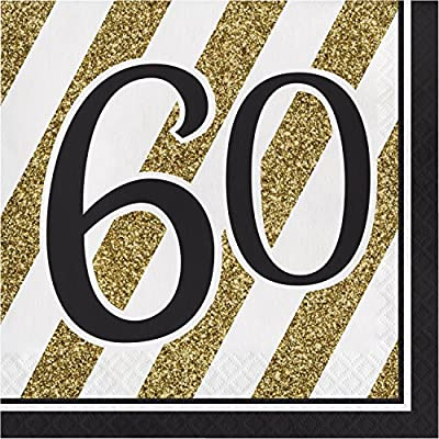 Black and Gold 60th Birthday Napkins, 48 ct: Health & Personal Care