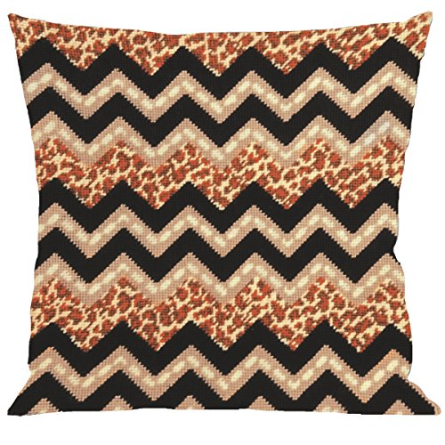 Tobin Needlepoint Kit Stitched in Yarn, 12 by 12-Inch, Leopard Zig Zag