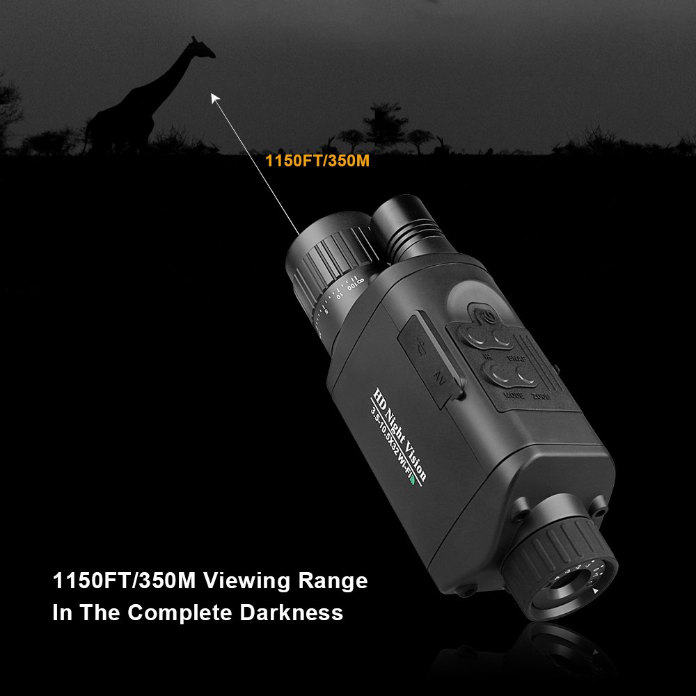 """Bestguarder Digital Night Vision Monocular with WiFi, HD Infrared IR Camera & Camcorder 3.5-10.5x32 1150ft /350M Viewing Range with 1.5"""" TFT LCD for Hunting by Bestguarder (Image #4)"""