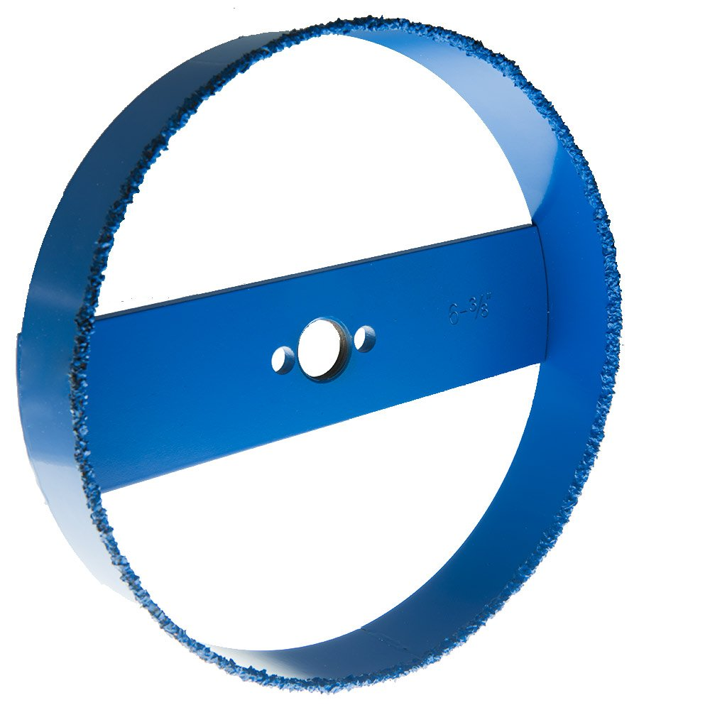 "Blue Boar Recessed Light Carbide Grit Hole Saw 6-3/8"" dia for 6 inch lights: fast cutting in drywall, lath & plaster, Hardi board: easy plug removal uses standard 5/8 18 thread hole saw arbor adptr"
