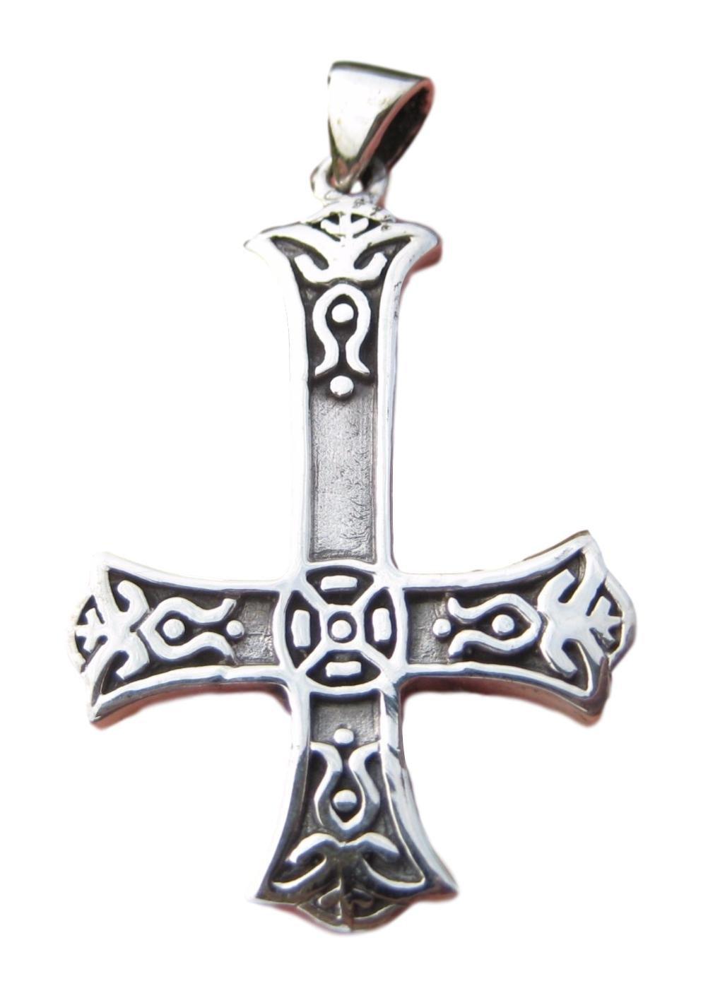 Pendentif 9 cm en argent Celtique inversé Petrine Cross Saint Peter ou Satanic A12 Himalayan Treasures