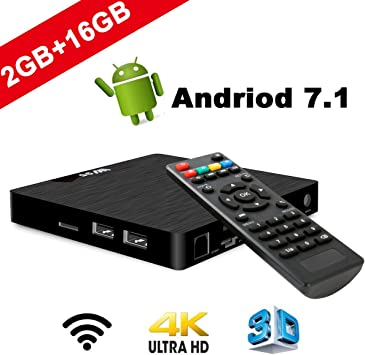 SeeKool Android 7.1 Smart TV Box Modelo T Android TV Box con 2GB RAM 16GB ROM,