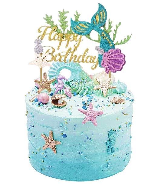 Decoración para tarta de sirena con purpurina para cumpleaños, diseño de sirena para decoración de tartas de sirena, para baby shower, fiestas de ...