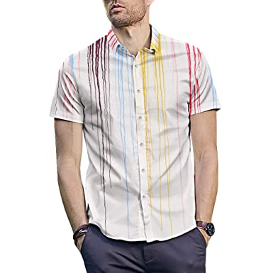 d6844eb9d8d5 Amazon.com  Men Handsome Graffiti Print Lapel Collar Short Sleeve Buttons  Blouse Shirt Top  Clothing