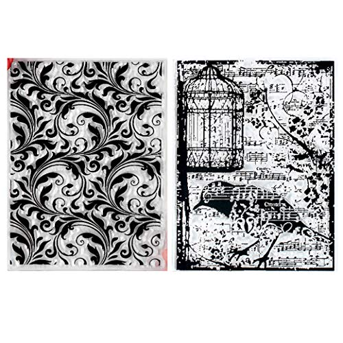 Kwan Crafts 2 Sheets Different Style Bird Birdcage Leaves Background Clear Stamps for Card Making Decoration and DIY Scrapbooking