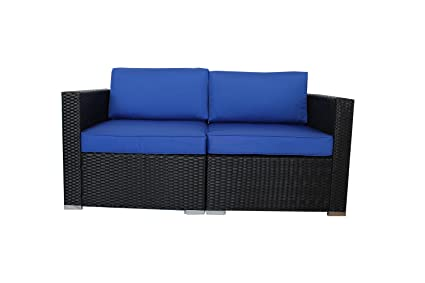 Outdoor Black Woven Couch Patio Wicker Sofa Set Garden Rattan Furniture  Royal Blue Cushion Cover Cushioned