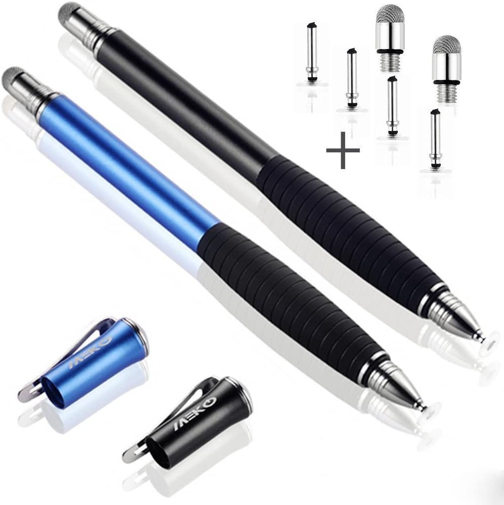 MEKO [2nd Gen] Universal Disc Stylus Pens, [2Pcs] [2 in 1 Precision Series] for iPhone X/8/8plus iPad/iPad Pro/iPad Mini and All Touch Screen Devices Bundle with 6 Replacement Tips(Black/Blue)