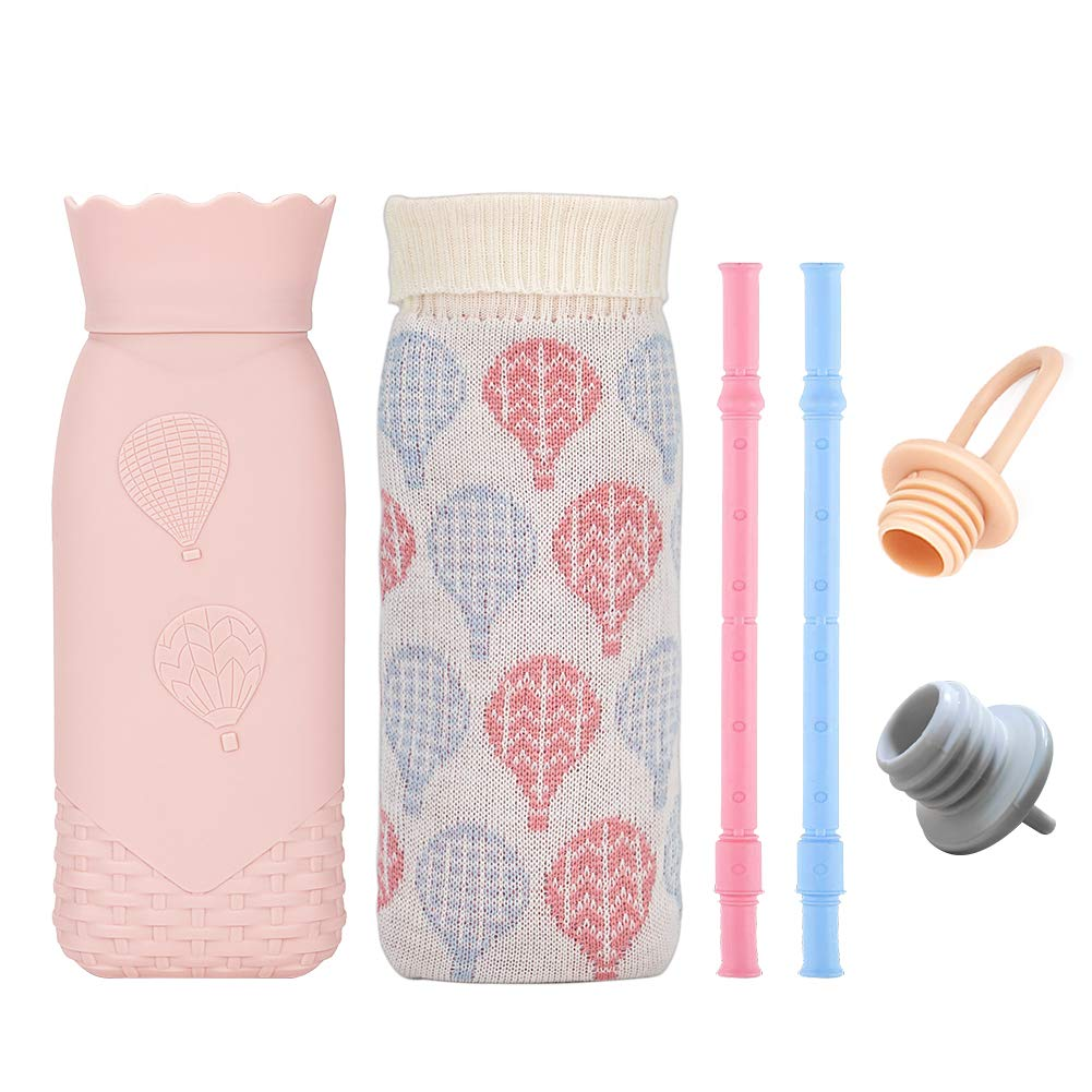Microwave Heating Bottle Environmental Silicone Hot Water Bag with, Hot Water Bottle with Cover 2 Silicone Reusable Straws- Gift for Birthday, Christmas, Valentine's Day, Gift Exchange Party Pink