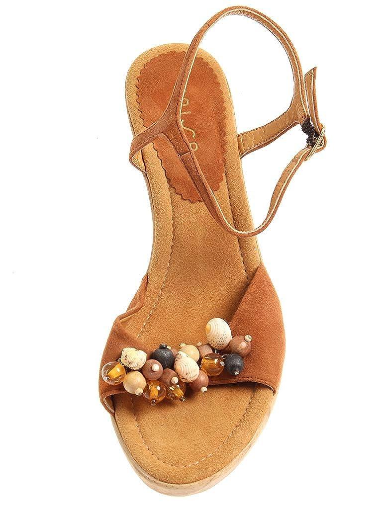 Unisa Sandalette Sandalette Unisa aus Leder Sommerschuhe Damenschuhe Wildleder 2963 Braun ee6a9b