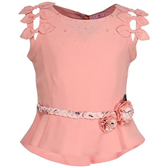 d60a949a94 Cutecumber Girls Georgette Embellished Peach Sleeveless Top - (TP-2057A- Peach-40