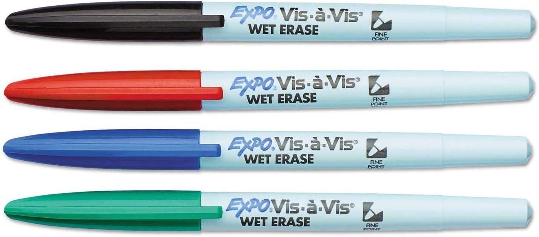 EXPO 16074 Vis-a-Vis Wet-Erase Marker Fine Point Asstd. 4/Set