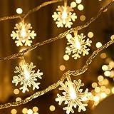 LED イルミネーションライト ジュエリーライト 40LED6M 電池式 3パターン 点滅 雪花型 防水 ガーデンライト クリスマス ハロウィン装飾 パーティー 誕生日 室内 室外 ウォームホワイト