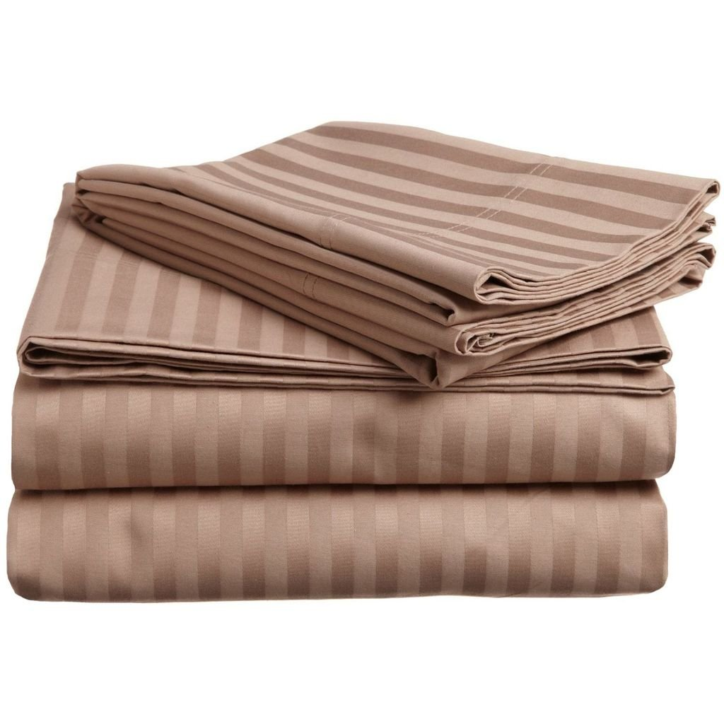 Superior 300 Thread Count 100% Premium Combed Cotton, 4-Piece Bed Sheet Set, Deep Pocket, Single Ply, Sateen Stripe, Queen Waterbed - Taupe