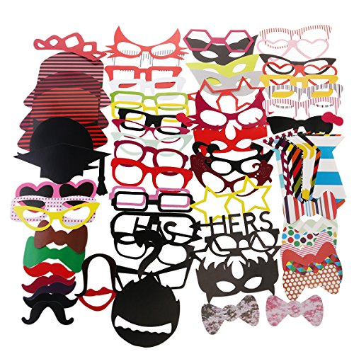 [BESTOYARD Photo Booth Props Diy Kit Dress-up Costume Accessories with Mustache Hats Glasses Lips Bowties for Wedding Party Christmas] (Diy Costume)