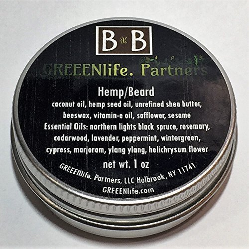 Hemp Balm - Beard - 1 ounce - 10 Therapeutic Grade Essential Oils for promoting growth by BomB Balm
